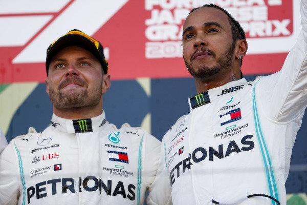 Lewis Hamilton, Mercedes AMG F1 and Race winner Valtteri Bottas, Mercedes AMG F1 celebrate on the podium