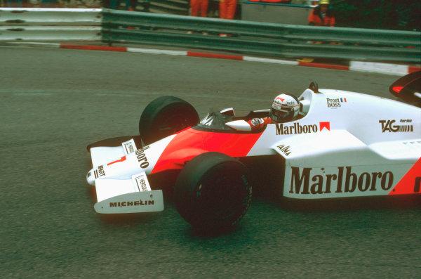 Monte Carlo, Monaco.31/5-3/6 1984.Alain Prost (McLaren MP4\2 TAG Porsche) 1st position, at Loews Hairpin.Ref-84 MON 36.World Copyright - LAT Photographic