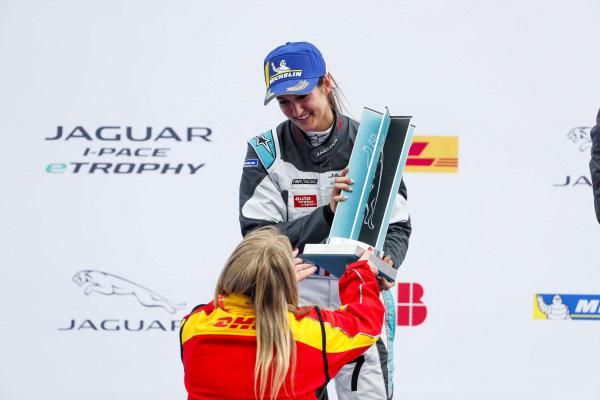 Célia Martin (FRA), Viessman Jaguar eTROPHY Team Germany, 2nd position,  receives her trophy on the podium