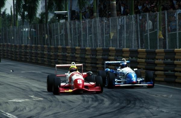 Ralph Firman (GBR), left,  Paul Stewart Racing overtook Jarno Trulli (ITA), right, KMS Benetton Formula to take the win.43rd Macau Grand Prix, Hong Kong. 17 November 1996.