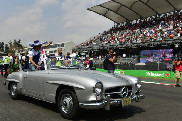 Felipe Massa (BRA) Williams on the drivers parade  at Formula One World Championship, Rd18, Mexican Grand Prix, Race, Circuit Hermanos Rodriguez, Mexico City, Mexico, Sunday 29 October 2017.