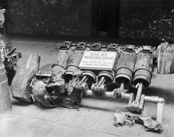 A Mercedes engine from a German aircraft shot down during a raid on London, on display in an exhibition of downed enemy aircraft.