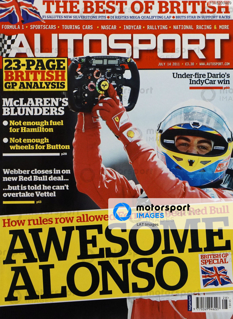 Cover of Autosport magazine, 14th July 2011