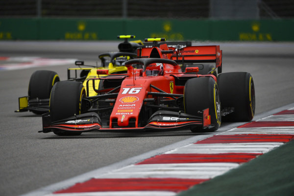 Charles Leclerc, Ferrari SF90, and Nico Hulkenberg, Renault R.S. 19