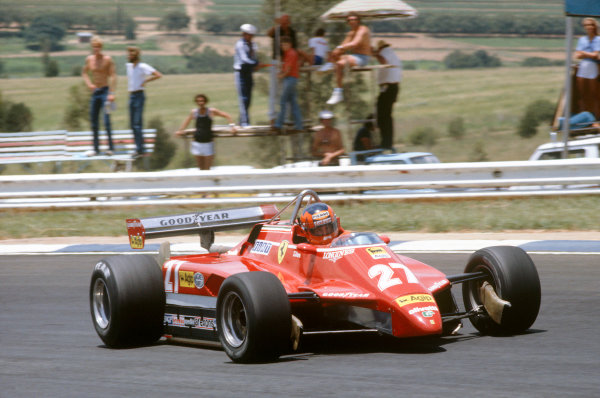 1982 South African Grand PrixKyalami, South Africa. 21st - 23rd January 1982.Gilles Villeneuve sideways in the Ferrari 126C2. He eventually retired with a blown turbo. Action.World Copyright: LAT Photographic.ref: 82-SA-21. 60mb Scan.