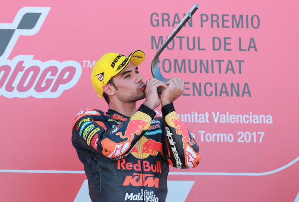 2017 Moto2 Championship - Round 18 Valencia, Spain  Sunday 12 November 2017 Podium: Race winner Miguel Oliveira, Red Bull KTM Ajo  World Copyright: Gold and Goose Photography/LAT Images  ref: Digital Image 706494