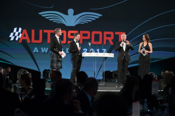 2017 Autosport Awards Grosvenor House Hotel, Park Lane, London. Sunday 3 December 2017. Christian Horner and Martin Brundle on stage with Presenters Lee McKenzie and David Coulthard. World Copyright: Zak Mauger/LAT Images  ref: Digital Image _O3I6576