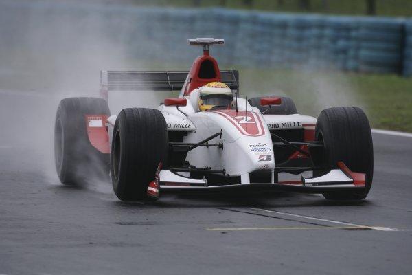 2006 GP2 Series Round 9. Hungaroring, Budapest, Hungary. 6th August 2006. Sunday race.Lewis Hamilton (GBR, ART Grand Prix). Action. World Copyright: Charles Coates/GP2 Series Media Service. Ref: Digital Image Only.ZK5Y4371 jpg