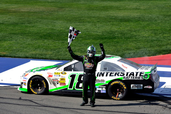 22-24 March, 2013, Fontana, California, USA Kyle Busch celebrates his win ©2013, Nigel Kinrade LAT Photo USA