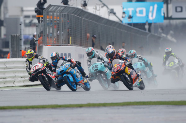 2015 Moto3 Championship.  British Grand Prix.  Silverstone, England. 28th - 30th August 2015.  Isaac Vinales, KTM, Jorge Navarro, Honda, Danny Kent, Honda, and Karel Hanika, KTM, lead at the start.  Ref: KW7_8453a. World copyright: Kevin Wood/LAT Photographic