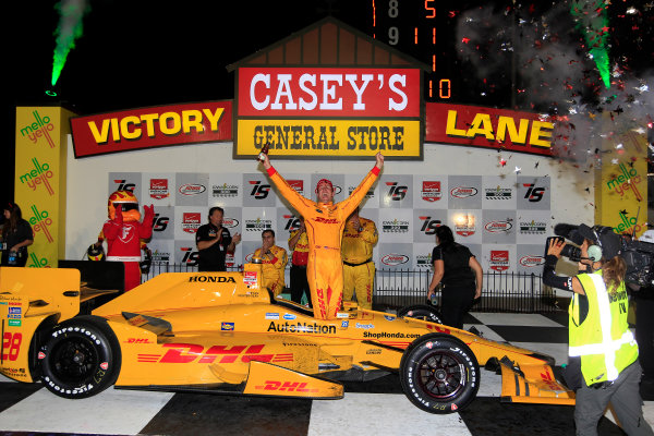 17-18 July, 2015, Newton, Iowa USA Ryan Hunter-Reay celebrates in victory lane ?2015, Phillip Abbott LAT Photo USA