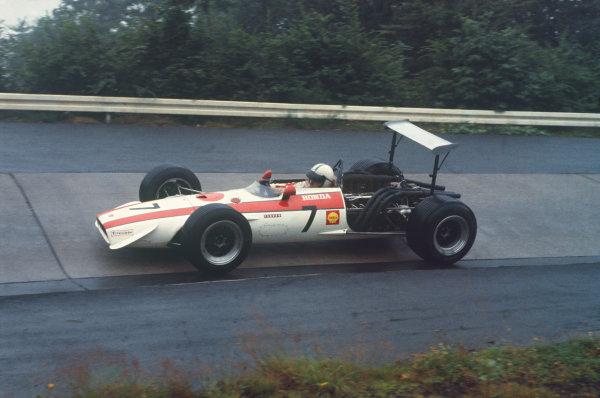 1968 German Grand Prix.  Nurburgring, Germany. 2-4 August 1968.  John Surtees, Honda RA301.  Ref: 68GER10. World Copyright: LAT Photographic