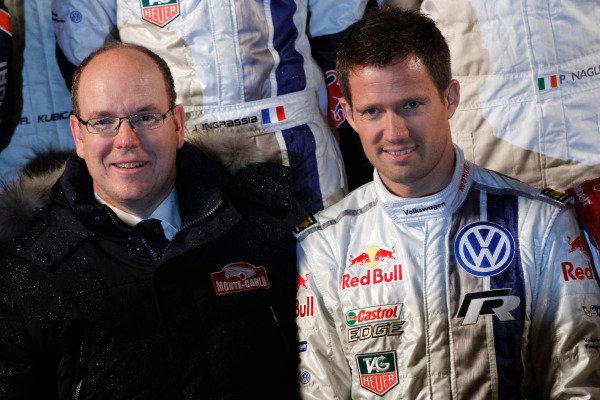 (L to R): HSH Prince Albert of Monaco (MON) and Sebastien Ogier (FRA) Volkswagen. FIA World Rally Championship, Rd1, Rally Monte Carlo, Preparatons, Monte Carlo, 13-15 January 2014.