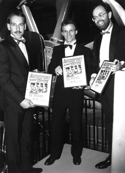 1988 Autosport Awards. Science Museum, London, 5th January 1989. Andy Wallace and Jan Lammers receive a special award from Peter Foubister. World Copyright: LAT Photographic. Ref: B/W Print.