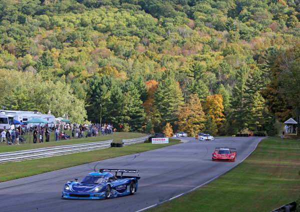 27-28 September, 2013, Lakeville, Connecticut USA The #90 Corvette DP of Ricky Taylor and Richard Westbrook leads a pack of cars. ©2013, R.D. Ethan LAT Photo USA
