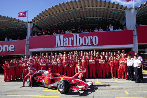 Annual Ferrari group photo session with all team members.