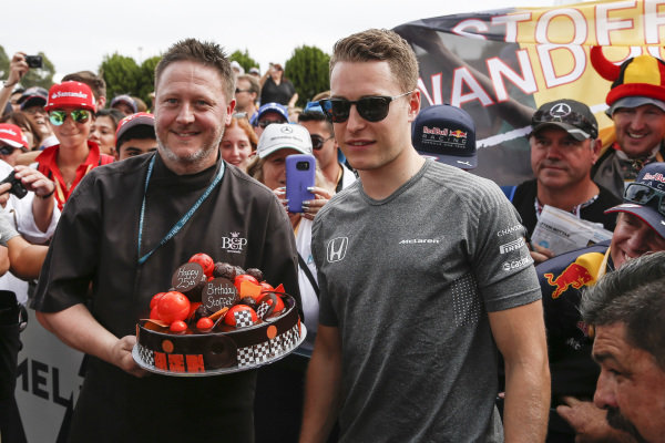 Stoffel Vandoorne (BEL) McLaren celebrates his 25th Birthday with a cake at Formula One World Championship, Rd1, Australian Grand Prix, Race, Albert Park, Melbourne, Australia, Sunday 26 March 2017.
