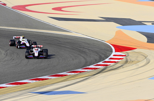 Nikita Mazepin, Haas VF-21, leads Mick Schumacher, Haas VF-21