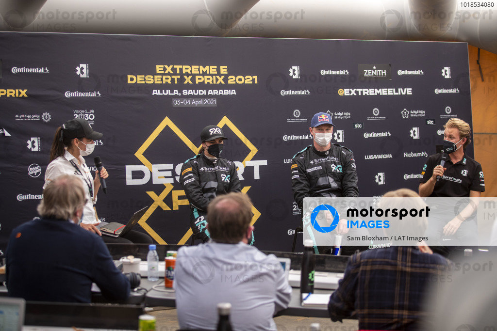 Molly Taylor (AUS), Rosberg X Racing, Johan Kristoffersson (SWE), Rosberg X Racing, and Nico Rosberg, founder and CEO, Rosberg X Racing, in the press conference