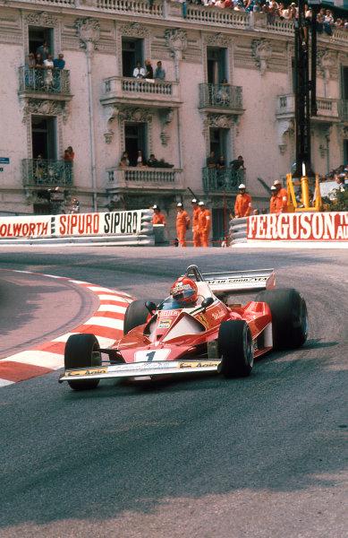 1976 Monaco Grand Prix.Monte Carlo, Monaco.28-30 May 1976.Niki Lauda (Ferrari 312T2) 1st position.Ref-76 MON 01.World Copyright - LAT Photographic