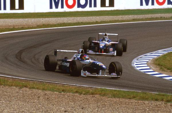 Hockenheim, German.26-28 July 1996.Jacques Villeneuve (Williams FW18 Renault) 3rd position.Ref-96 GER 14.World Copyright - LAT Photographic