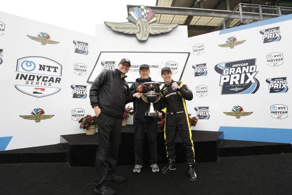 Simon Pagenaud, Team Penske Chevrolet, podium, John Menard, Ben Bretzman