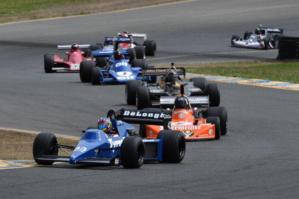 Romak Stephen 1985 Tyrrell 012 leads Martin Lauber, 1974 March 741, 1974