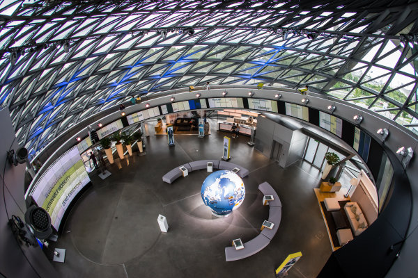 Inside BMW Welt: the glass double cone