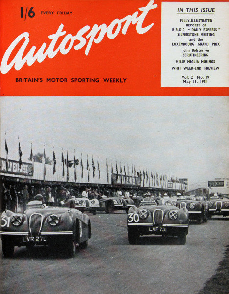 Cover of Autosport magazine, 11th May 1951, Main Picture: Neville Gee, Duncan Hamilton and Leslie Johnson, led away a fleet of Jaguar XK 120's, at the start of the Division 2, One Hour Race at Silverstone.