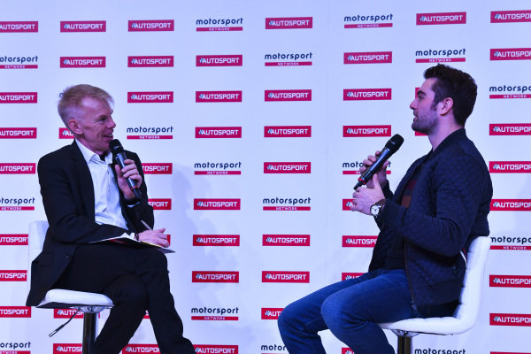 Alan Hyde talks to Jack Harvey on the Autosport Stage.