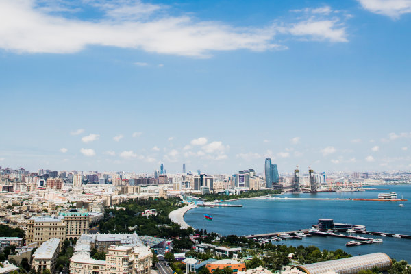Baku City Circuit, Baku, Azerbaijan. Wednesday 21 June 2017. A view of the city from Dagustu (Upland) Park. World Copyright: Zak Mauger/LAT Images ref: Digital Image _56I5970-2