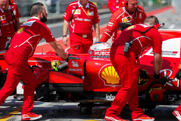 Hungaroring, Budapest, Hungary.  Tuesday 01 August 2017. Charles Leclerc, Ferrari SF70H, returns to the pits. World Copyright: Zak Mauger/LAT Images  ref: Digital Image _54I6597
