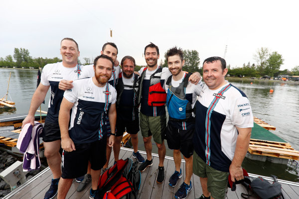 Circuit Gilles Villeneuve, Montreal, Canada. Sunday 11 June 2017. A wet looking Williams raft race team. World Copyright: Glenn Dunbar/LAT Images ref: Digital Image _X4I7393