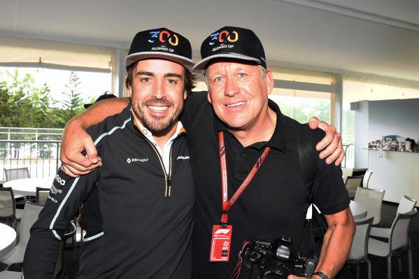 Fernando Alonso (ESP) McLaren celebrates his 300th GP with Steven Tee (GBR) LAT Photographer