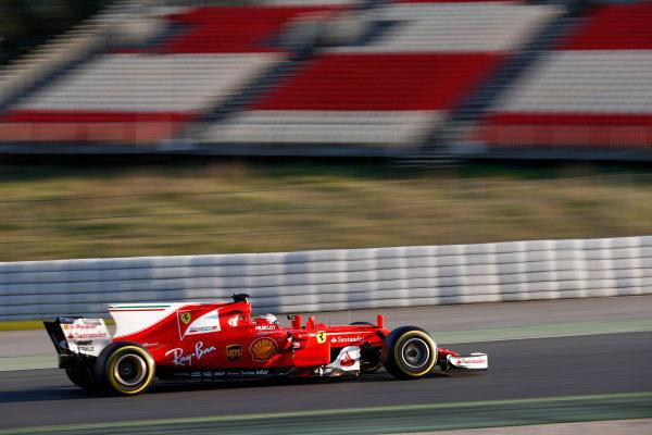 Circuit de Barcelona Catalunya, Barcelona, Spain. Thursday 02 March 2017. Kimi Raikkonen, Ferrari SF70H. World Copyright: Glenn Dunbar/LAT Images ref: Digital Image _31I3339