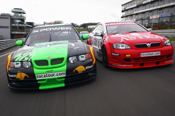 Two of the cars tipped for BTCC Championship glory go head to head during testing (L to R): The MG Sport Racing MG ZS  and the Vauxhall Motorsport Astra Coupe.