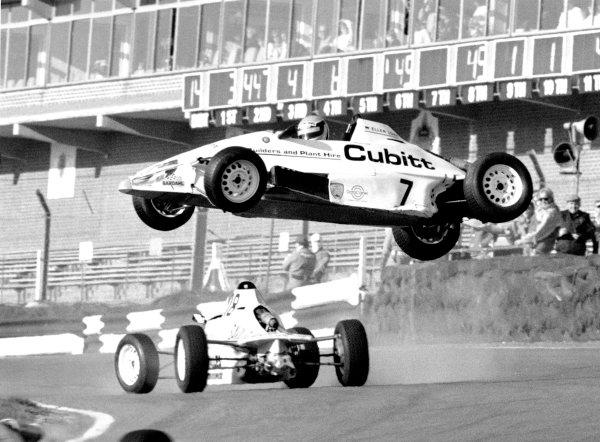 1988 Formula Ford FestivalBrands Hatch, Kent, England.Ellen Lohr (no 7) Crashes. Action.World Copyright: LAT Photographic.ref: 60mb B&W scan.