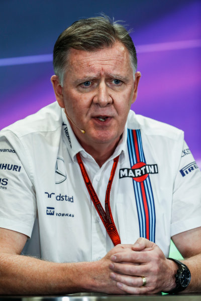 Autodromo Hermanos Rodriguez, Mexico City, Mexico. Friday 28 October 2016. Mike O' Driscoll, Group CEO, Williams Martini Racing, in the Team Principals Press Conference. World Copyright: Glenn Dunbar/LAT Photographic ref: Digital Image _X4I6940