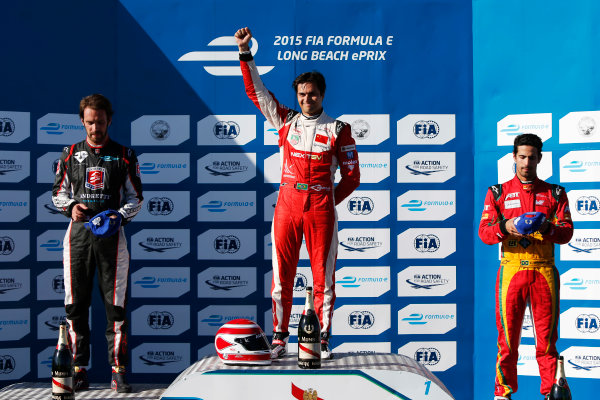 2014/2015 FIA Formula E Championship. Long Beach ePrix, Long Beach, California, United States of America. Sunday 5 April 2015 Podium. Nelson Piquet Jr (BRA)/China Racing - Spark-Renault SRT_01E, first, Jean-Eric Vergne (FRA)/Andretti Motorsport - Spark-Renault SRT_01E, second and Lucas di Grassi (BRA)/Audi Abt Sport - Spark-Renault SRT_01E, third. Photo: Zak Mauger/LAT/Formula E ref: Digital Image _L0U8672