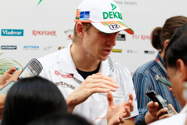 2012 Indian Grand Prix - Saturday Buddh International Circuit, New Delhi, India. 27th October 2012. Nico Hulkenberg, Force India, takes questions from the press. World Copyright:Charles Coates/LAT Photographic ref: Digital Image _X5J1091