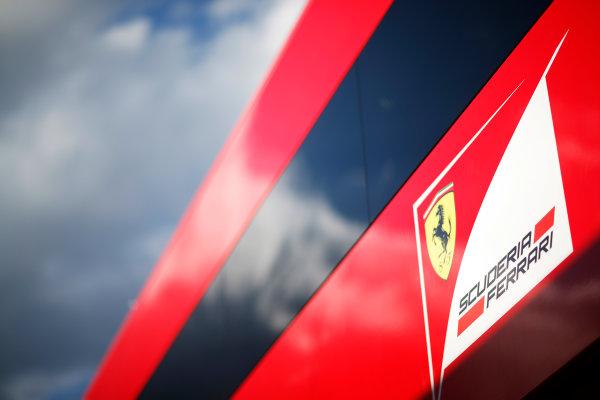 Red Bull Ring, Spielberg, Austria. Friday 19 June 2015. Scuderia Ferrari logo on their motorhome. World Copyright: Alastair Staley/LAT Photographic. ref: Digital Image _R6T0815