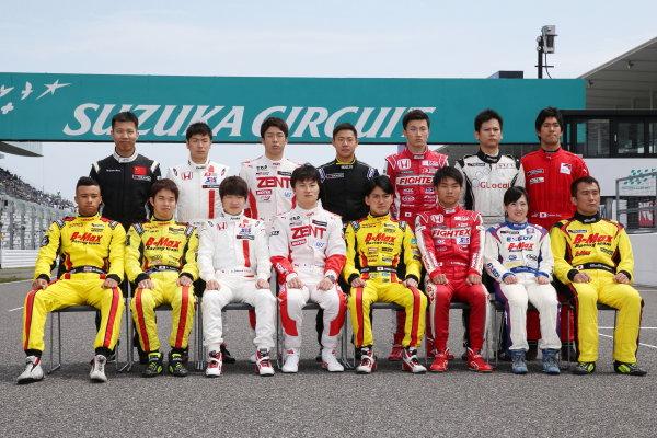 2016 Japanese Formula 3 Championship. Suzuka, Japan. 23rd - 24th April 2016. Rd 1 & 2. 2016 drivers line up, portrait. World Copyright: Masahide Kamio / LAT Photographic. Ref: 2016JF3_Rd1&2_14