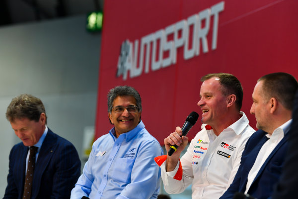 Autosport International Exhibition. National Exhibition Centre, Birmingham, UK. Thursday 11th January 2018. Malcolm Wilson, Michel Nandan, Tommi Makinen and Yves Matton talk to Henry Hope-Frost on the Autosport Stage. World Copyright: Mark Sutton/Sutton Images/LAT Images Ref: DSC_6660