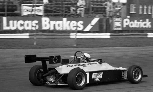 Race winner Ayrton Senna (BRA) Rushen Green Racing Van Diemen RF82.British Formula Ford 2000 Championship, 28 March, Silverstone, England, 1982.