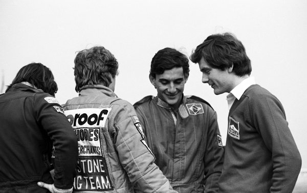 Race winner Ayrton Senna (BRA) Rushen Green Racing (Centre) is joined on the victory gantry by, amongst others, Formula 2 competitor Jonathan Palmer (GBR) (Right). British Formula Ford 2000 Championship, 28 March, Silverstone, England, 1982.
