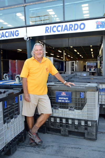 Bill Gibson (AUS) CEO Gibson Freight, with hospitality cases for Red Bull Racing. Formula One World Championship, Rd1, Australian Grand Prix, Preparations, Albert Park, Melbourne, Australia, Sunday 9 March 2014.