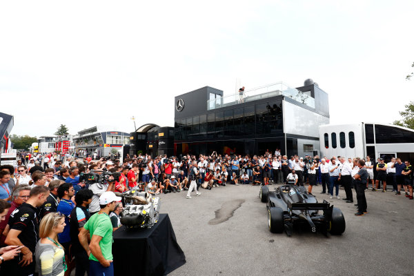 Autodromo Nazionale di Monza, Italy. Thursday 31 August 2017 The new 2018 F2 car is unveiled in the paddock. Photo: Sam Bloxham/FIA Formula 2 ref: Digital Image _W6I2024