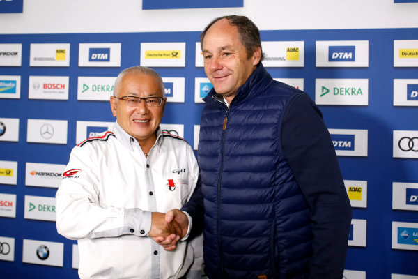 2017 DTM Round 9  Hockenheimring, Germany  Sunday 15 October 2017. Press Conference: Masaki Bando, Chairman GTA and Gerhard Berger, ITR Chairman  World Copyright: Alexander Trienitz/LAT Images ref: Digital Image 2017-DTM-HH2-AT1-0456