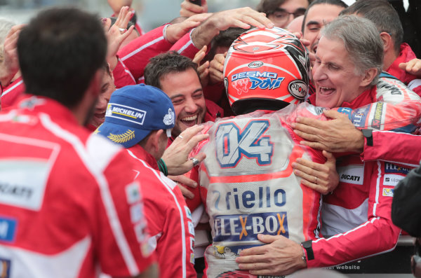 2017 MotoGP Championship - Round 15 Motegi, Japan. Sunday 15 October 2017 Race winner Andrea Dovizioso, Ducati Team World Copyright: Gold and Goose / LAT Images ref: Digital Image 22338