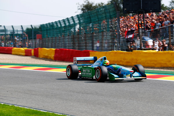 Spa Francorchamps, Belgium.  Sunday 27 August 2017. Mick Schumacher drives the Benetton B194 driven by his father Michael Schumacher in the 1994 World Championships. World Copyright: Sam Bloxham/LAT Images  ref: Digital Image _J6I9597